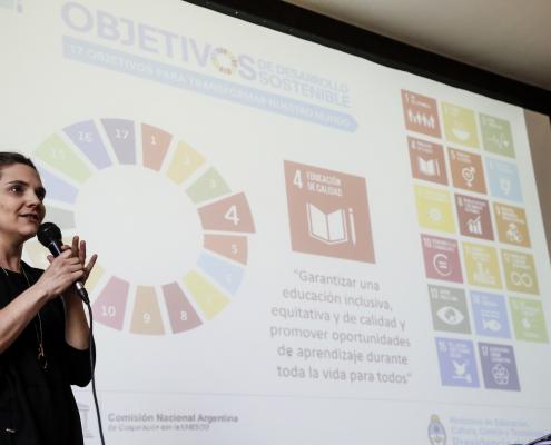 Florencia Buonomo, representante de la Comisión Nacional Argentina de Cooperación con la Unesco (CONAPLU), repasó los principales conceptos ligados al Patrimonio Mundial y destacó la importancia del rol de la Unesco.